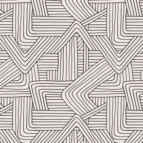 Little Maze stripes minimal Scandinavian grid style trend abstract geometric print monochrome off white black SMALL