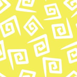 1980's Yellow and White Geometric Swirls