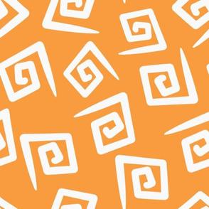 1980's Orange and White Geometric Swirls