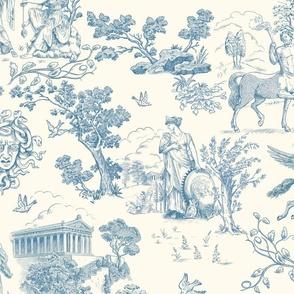 Greek Mythology Toile Blue