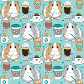 medium guinea pigs and coffee on teal