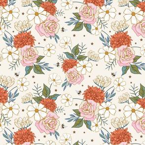 Retro Rose Garden on Cream