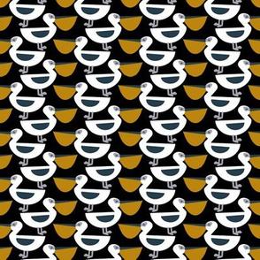 Pelican pattern white bird black background
