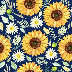 Sunflowers and daisies on navy