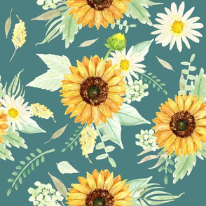 Sunflower and Daisy bouquet on green