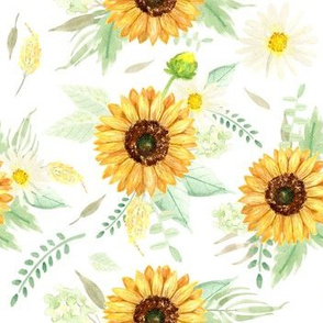 Watercolor Sunflower and Daisy bouquets