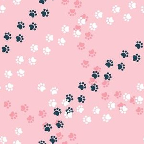 Small scale // Hot dogs chase // pink background navy blue and white paw prints