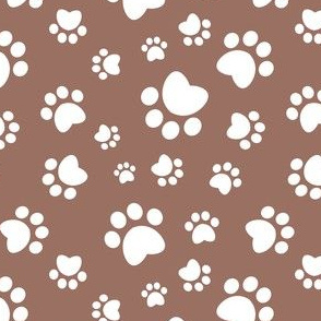 Small scale // Paw prints // brown background white animal foot prints