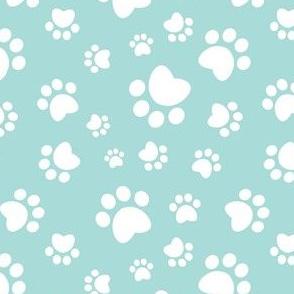 Small scale // Paw prints // aqua background white animal foot prints