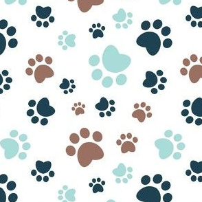 Small scale // Paw prints // white background brown navy blue and aqua animal foot prints