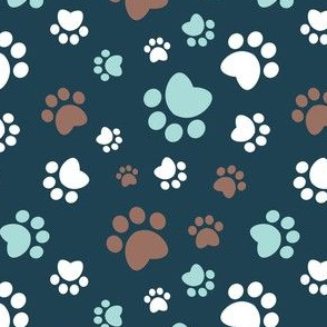 Small scale // Paw prints // navy blue background brown white and aqua animal foot prints