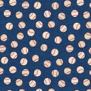 Micro Baseball Balls on Blue Linen Look - Sandlot Sports Collection
