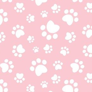 Small scale // Paw prints // pink background white animal foot prints
