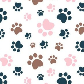 Small scale // Paw prints // white background red navy blue and pink animal foot prints