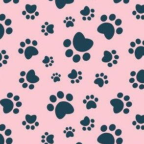 Small scale // Paw prints // pink background navy blue animal foot prints