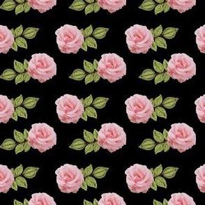 Duggins Castle Roses Pink on Black