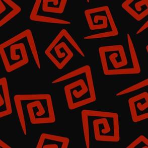 1980's Black and Red Geometric Swirls