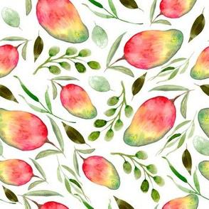 Watercolor Mangos  | Fruit | Pattern