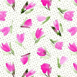 Juliet's tulips - watercolor pink flowers with dots