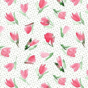Juliet's tulips - watercolor red flowers with dots p296