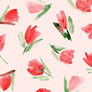 Juliet's tulips - watercolor flowers on blush pink for modern home decor, bedding, nursery