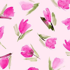 Juliet's tulips on blush pink - watercolor flowers 296