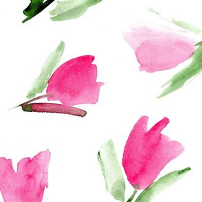 Large scale Juliet's tulips - watercolor flowers