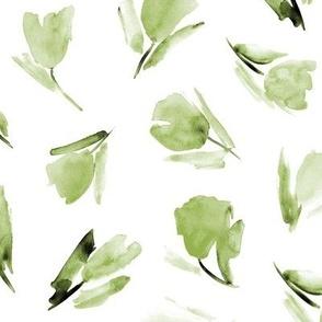 Artichoke green Juliet's tulips - watercolor flowers p296