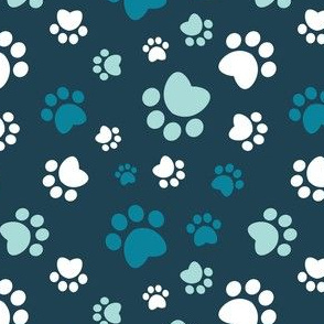 Small scale // Paw prints // navy blue background turquoise white and aqua animal foot prints