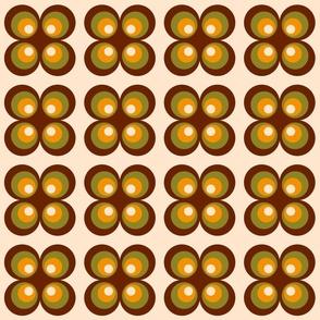 Retro 70s circle flowers brown, orange Wallpaper Fabric