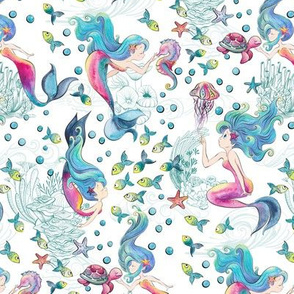 Modern Mermaid Toile on White - Medium