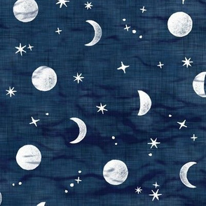 Shibori Moons and Stars on Dark Indigo | Night sky fabric, block printed moon on linen pattern, crescent moon, arashi shibori linen.
