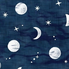 Shibori Moons and Stars on Dark Indigo (large scale) | Night sky fabric, block printed moon on linen pattern, crescent moon, arashi shibori linen.