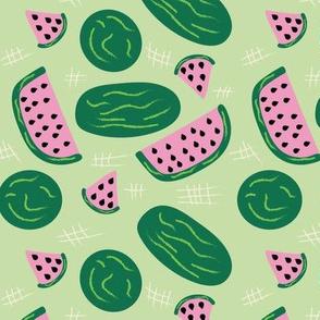 Fun Fruit: Watermelon Pink & Green Slices