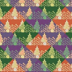 Classic Christmas Trees - purple, orange and green