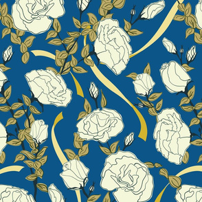 White Roses - Blue - Medium