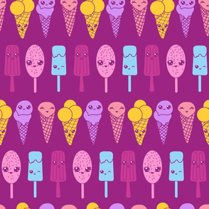 Cute ice cream faces - pink yellow blue