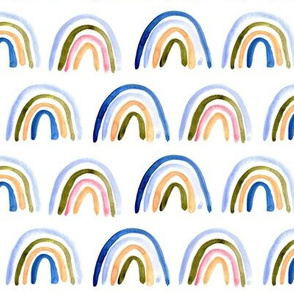 Amigos rainbows in blue and earthy tones - watercolor painted rainbows for modern nursery