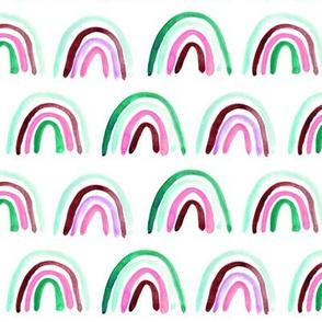 Emerald and pink Amigos rainbows - watercolor 297