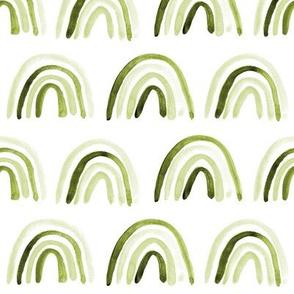 Khaki amigos rainbows - watercolor tonal olive green rainbow pattern