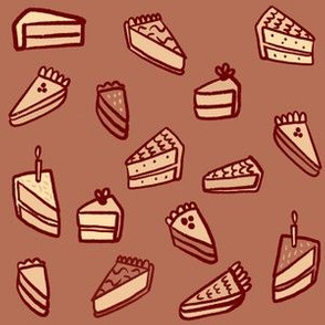 Little Pies and Cakes - monochrome brown