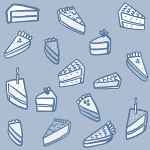 Little Pies and Cakes - monochrome blue