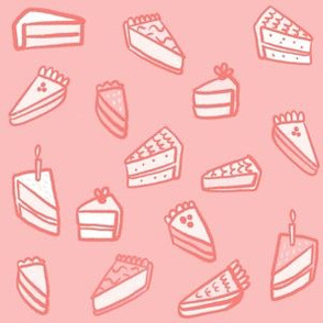 Little Pies and Cakes - monochrome pink