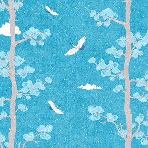 Pines and Cranes in Turquoise Blue (large scale) | Forest fabric, bird fabric in bright blue. Japanese print fabric, tree fabric with cranes and snow.