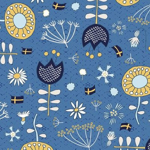 The swedish flower oracle on blue