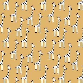 Adorable giraffe kawaii animals kids summer safari nursery print mustard yellow