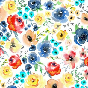 My Colorful Garden (blue, aqua, peach, yellow) LARGER scale