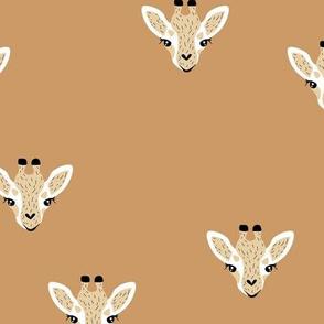 Adorable giraffe friends kawaii animals kids summer safari nursery cinnamon ochre brown