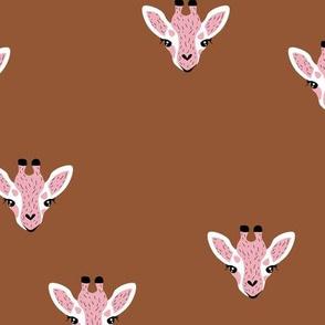 Adorable giraffe friends kawaii animals kids summer safari nursery stone red pink girls