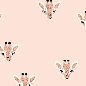 Adorable giraffe friends kawaii animals kids summer safari nursery soft pale beige neutral